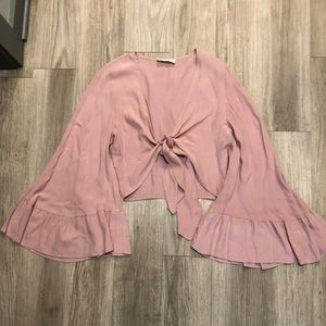 Urban Outfitters Bell Sleeve Tie Front Top
